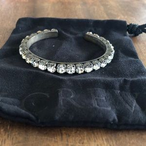 JCrew Bangle Rhinestone Bracelet Pewter Color